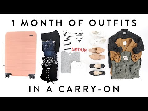 1 MONTH of OUTFITS in a Carry-On Suitcase   TRAVEL CAPSULE Wardrobe   Miss Louie
