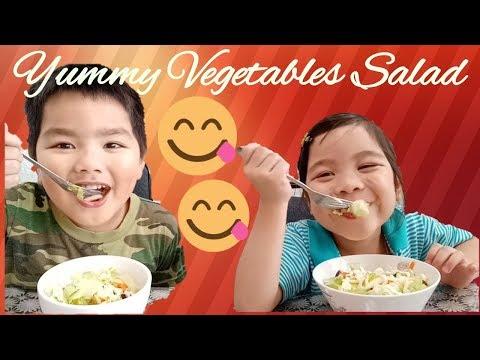 Kimberly and Bryan eating vegetables salad   Healthy Foods for kids #VegetablesSaladForKids