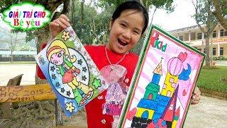 BÉ HUYỀN CHƠI TÔ MÀU TRANH CÁT | Play coloring pages ♥ Giải trí cho Bé yêu