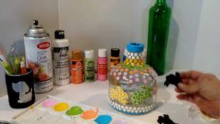 Mandala Dot Painting Easter Recycled Bottle Sizzix Die Glass Bottles Cuttlebug Dot Painting