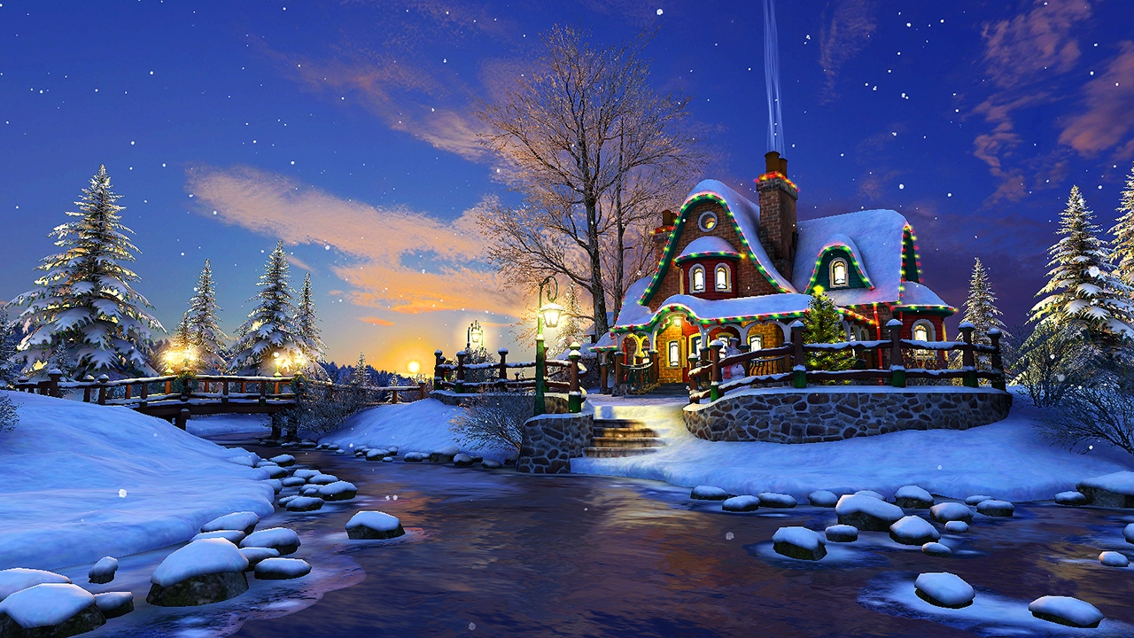 White Christmas 3D Screensaver & Live Wallpaper HD