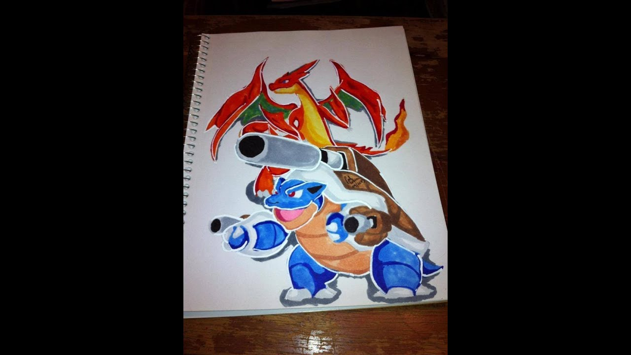 Copic Marker Speed Color Mega Blastoise And Mega Charizard