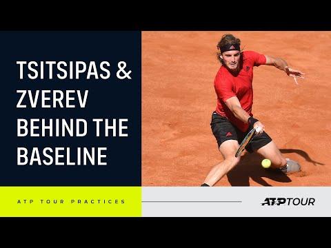 Tsitsipas and Zverev court level practice