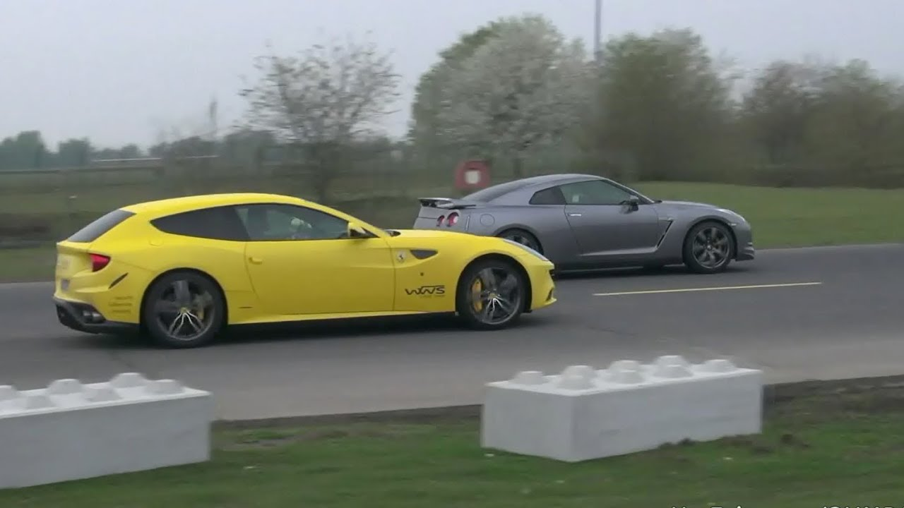 Yellow Ferrari FF vs Nissan R35 GT-R vs McLaren 12C - YouTube