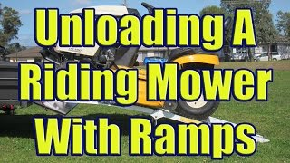 aluminum ramps to load riding mower using folding trailer ramps for cub cadet ltx 1050