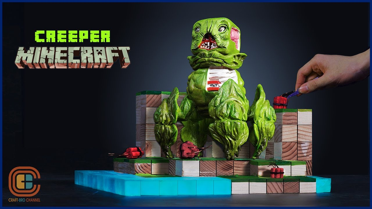 How To Make Realistic CREEPER MINECRAFT Diorama / Polymer Clay / Resin Art