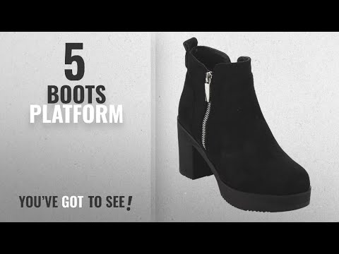 Top 5 Boots Platform [2018]: Beston EJ63 Womens Chunky Heel Platform Faux Suede Ankle Booties With