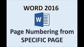 Dizi Sayfaları Nasıl Başlar Belirli bir sayfadan Başlayarak 2016 Word Sayfa Numaralarını Numaralandırma Ekle