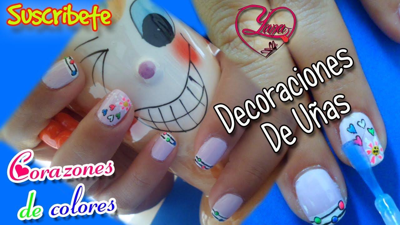 Decoraciones de Uñas Corazones de colores y una Flor , Yana , Nail Art , YouTube