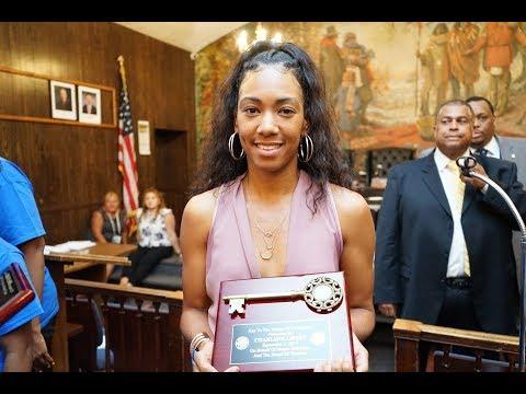 Track Star Charlene Lipsey Recieves Hempstead Village Key