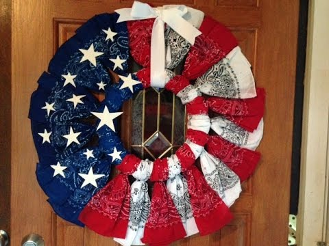 The Easiest Patriotic Bandana Wreath Tutorial with Video ...  Bandana Wreath Directions