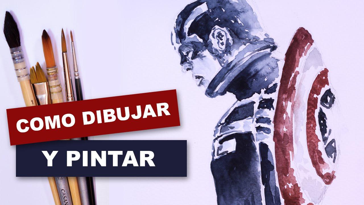 Como dibujar y pintar facil al Capitán América - YouTube