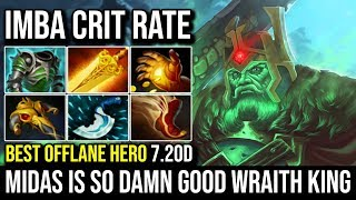 Midas on Wraith King is Still Freaking Good - WTF IMBA Crit Rate Best Offlane Hero in 7.20d   Dota 2