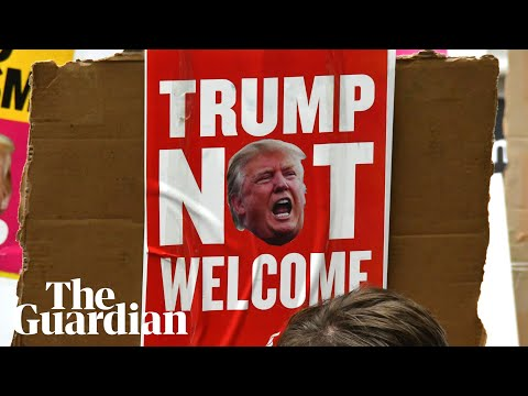 Videos: Thousands protested against Trump on London streets, the US President called it 'fake news'