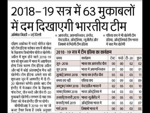 Indian Cricket Team Tour 2018-19
