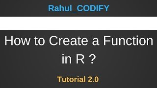 So Erstellen Sie eine Funktion in R ? [R Data Science 2.0 Tutorial]