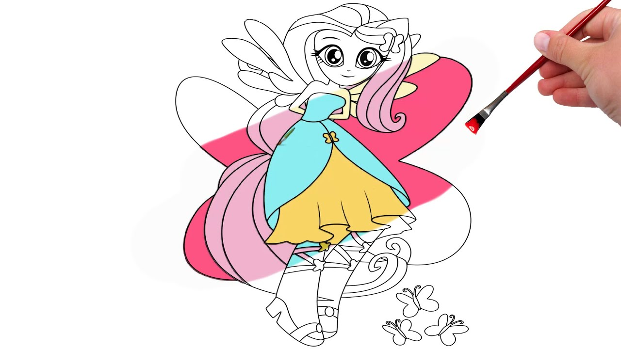 my little pony fluttershy equestria girls coloring pages youtube