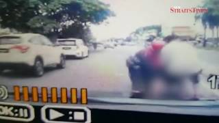Dozing boy gets arm wedged in motorcycle in freak accident