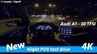 Audi A1 30 TFSI - night POV drive in 4K | Acceleration 0 - 100 km/h