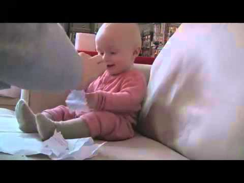 Baby Laughing Hysterically At Ripping Paper (Original)