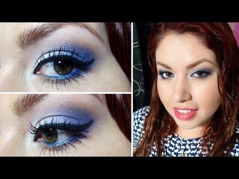 Maquillaje vestido blanco y azul