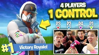 4 PEOPLE 1 CONTROLLER CHALLENGE IN FORTNITE W/ JESSER, CASH & JIEDEL!