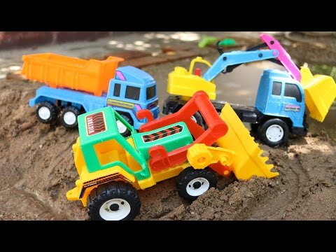 ของเล่น รถแม็คโครตักดินในน้ำลึก รถตักดิน รถดั้ม รถบรรทุก รถเครน