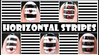 HOW TO DRAW HORIZONTAL STRIPED NAIL ART DESIGNS | LINED NAILS TUTORIAL BEGINNERS MONOCHROME