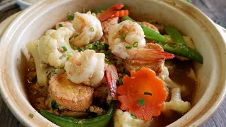 Restaurant Style Dish! Chinese Shrimp u0026 Tofu Pot 虾仁豆腐煲 | Chinese Shrimp / Prawn u0026 Tofu Recipe