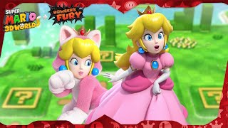 Super Mario 3D World for Switch ᴴᴰ   World 1 (All Green Stars & Stamps) Solo Peach