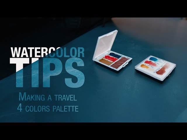 Watercolor DIY - How to make a travel 4 Colors Watercolor palette