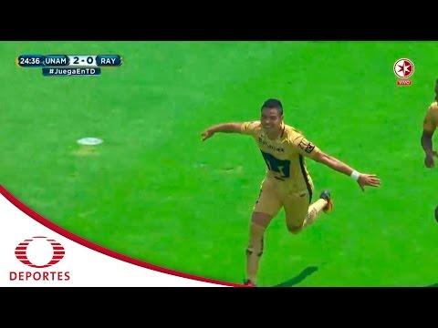 Gol de Pablo Barrera   Pumas 3 - 0 Monterrey   Jornada 6 - A16   Televisa Deportes