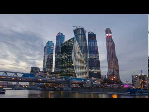 Skyscrapers International Business Center City day to night timelapse hyperlapse, Moscow, Russia