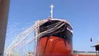Cebu Gov Davide at the Ceremonial Launching of SC209 82,100 MT Bulk Carrier at Tsuneishi (Cebu)