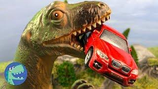 Мультики про машинки | Динозавр напал на Трейлер, Желтый джип, Трактор и Полицейский пикап