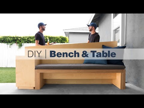 Outdoor Bench With Standing Height Table / How To Build Patio Furniture / Woodworking