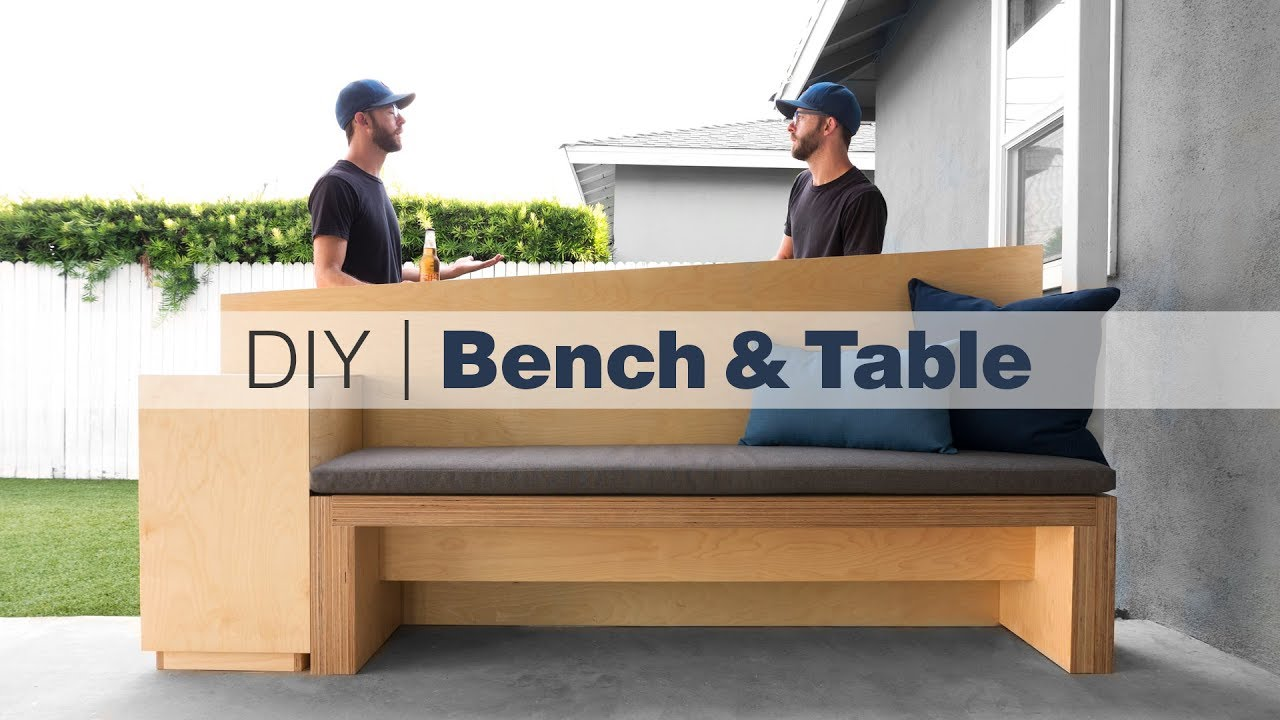 outdoor bench with standing height table how to build patio furniture woodworking