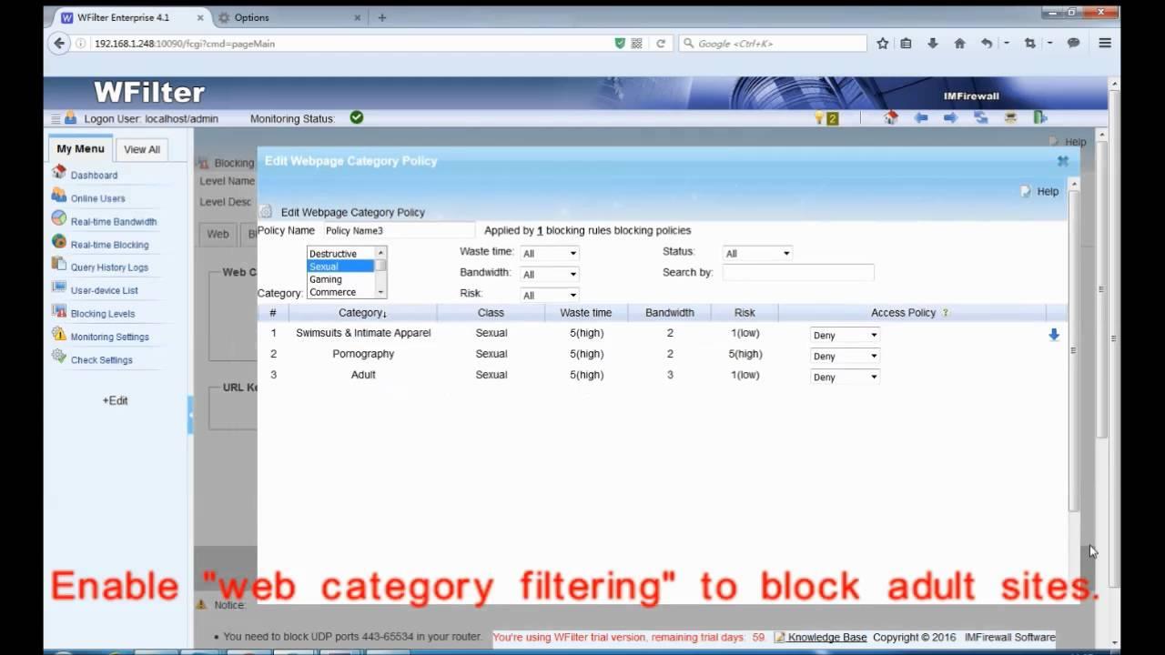 block websites on computer network