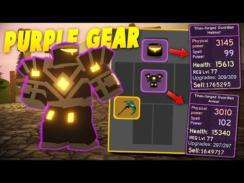 GETTING FULL SET of Purple Titan Forged Guardian ARMOR! Roblox: Dungeon Quest