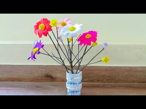 Room decor / Twigs crafts/ Paper flower decoration with Twigs/ Tree branches craft/ paper flowers