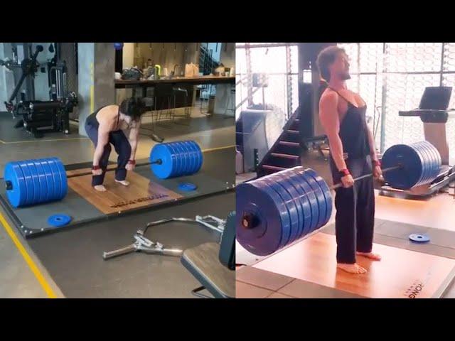 Tiger Shroff  Shows Unbelievable Fitness Challenge Gym Workout 300kg Deadlift