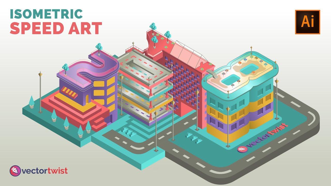 [Isometric Illustrator] Isometric City Buildings - Speed Art Drawing