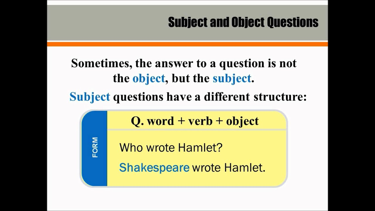 how to tell which word in an object in english