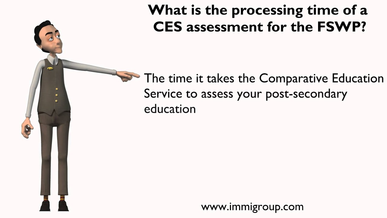 What is the processing time of a CES assessment for the FSWP?