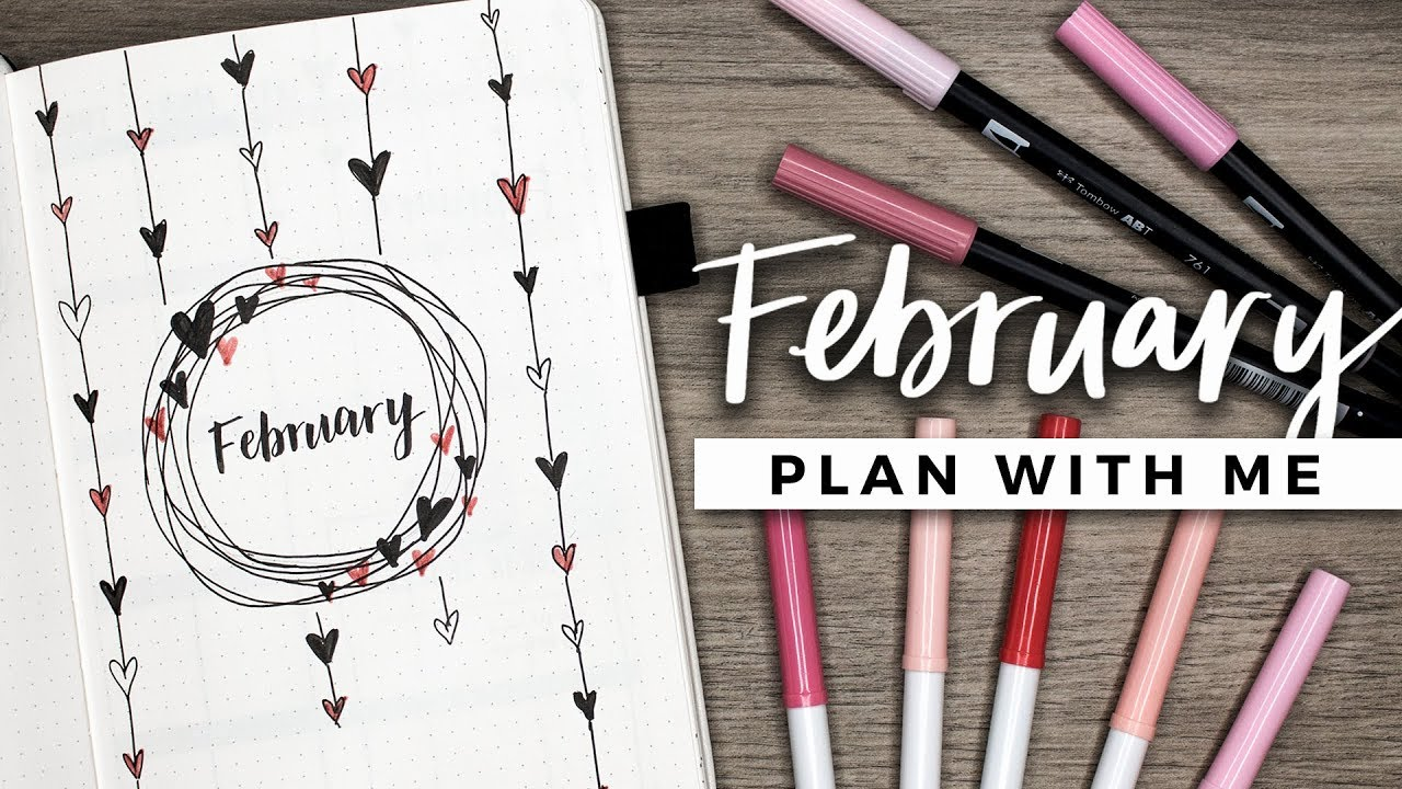 Plan with me february 2018 bullet journal setup youtube for Plan me