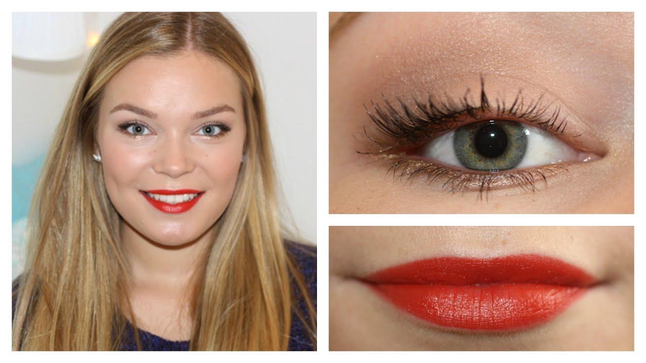 Fall Makeup Tutorial 🍂🍁 Bright Orange Lips Ft Maybelline