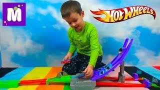 Хотвилс трек пила Острые лезвия блестательные половинки Hot Wheels Split Speeders unboxing toy