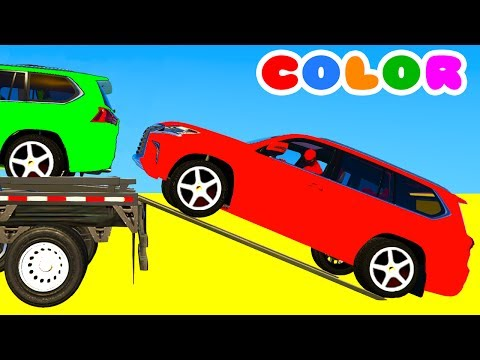 Thumbnail: COLOR SUV Cars Transportation in Spiderman Cartoon 3D w Superheroes for babies and kids!
