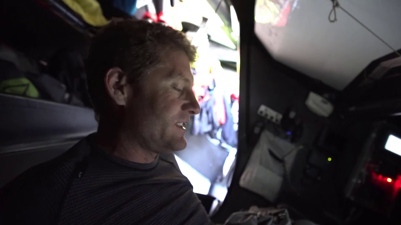 Dongfeng sails fast on port gybe in the sun. Carolijn: Champagne sailing in the Southern Ocean. Will look different tomorrow. Charles describes a maneuver they're going to perform. Then we see them performing it (looks like a headsail configuratio change). Crashcam footage of... something. They continue working on things. Below, Charles talks in French. Horace gets his gear on, then talks to the camera in Mandarin (I assume). Horace goes on deck. Washing machine in the sunset. Albatross flying on their starboard quarter.