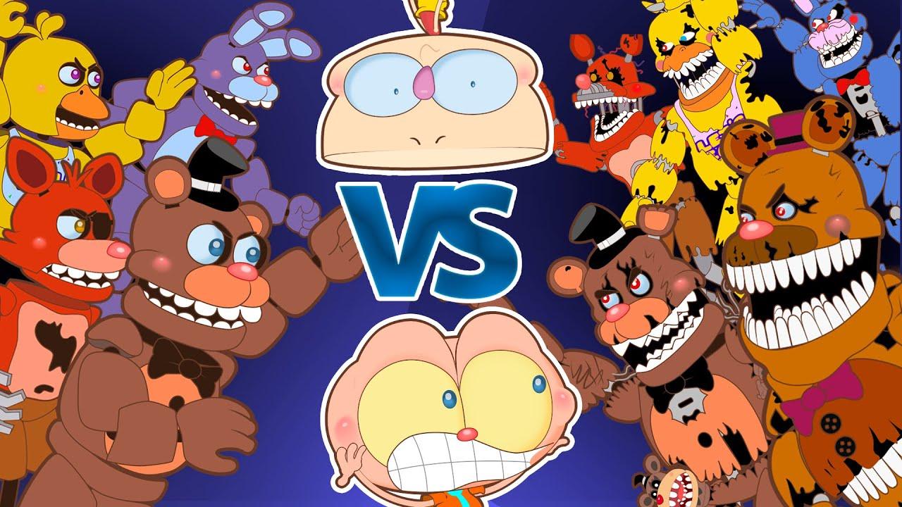 Mongo e Drongo em FNAF 1 Contra FNAF 4 - Five Nights at Freddy's em desenho animado